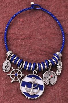 Anchor Charm Bracelet - Blue