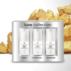 Luxe Collection Cena:40,70€ Rad sa sklada z: -Gold serum day -Platinum serum night -Diamond serum eye  #omladenie #omladeniepleti #korekciavrasok #zlato #platina #diamanty #luxus #luxuslife #mladost #krasa #krasnaplet #prirodnakozmetika #prezeny #regeneracia #prekazdytyppleti #kolagen #sviezaplet #svetkozmetikylambre #novinka #prezeny #ziadnevrasky #krasa #krasnakazdyden #slovakgirl #slovakwoman #hydratacia #pruznost