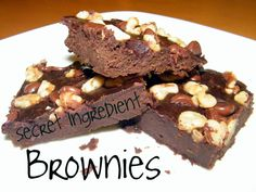 Secret Ingredient Brownies - Keeper of the Home, make w/o flour next time, time after 1/2c oats.