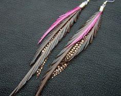 Feder Ohrringe  Leder braun Türkis und glitzernden bronze