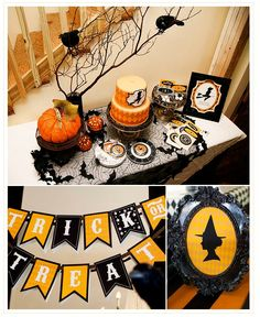 via frog prince paperie on kara's party ideas blog ~ Halloween party table idea