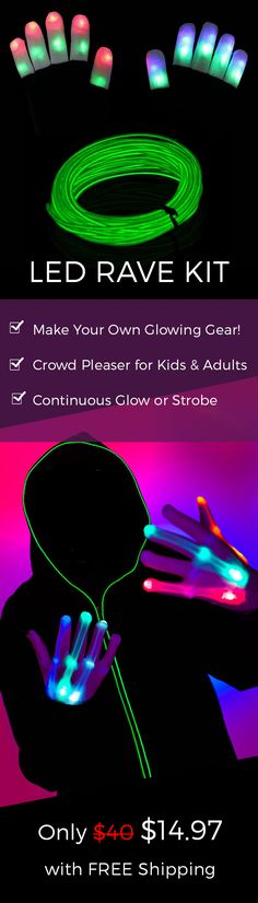 Love Rave Gear? Then This LED Rave Kit Is For YOU!  Get This With FREE Shipping Now!