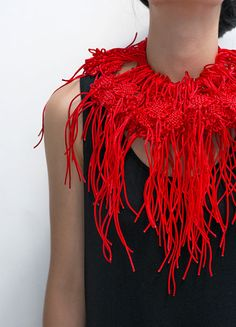 Yuni Kim Lang Necklace: Big Red Knots, 2013 Red cords Detailed view Photo by Matjaz Tancic