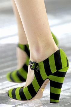 Bright green and black striped Mary Jane heel -- LOVE THESES!