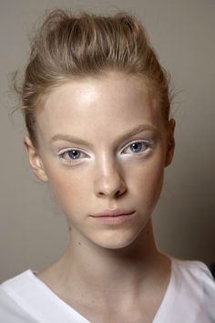white eyeliner and eye shadowing, pretty! Also makes you look more awake and revitalised and is also understated and minimal #make up #searchub