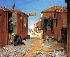 Henry Bacon - Beach at Etretat