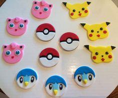 Juego de Pokemon Fondant Cupcake Toppers de 18 por AfterHoursCakery
