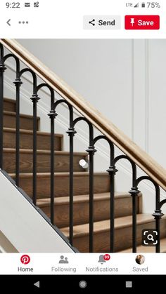 Iron and wood stair railing Stair Railing Ideas iron railing stair Wood Iron and wood stair railing Stair Railing Ideas iron railing stair Wood Wood Railings For Stairs, Black Stair Railing, Outdoor Stair Railing, Wrought Iron Stair Railing, Stair Railing Design, Railing Ideas, Staircase Ideas, Modern Staircase Railing, Deck Stairs