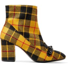 No. 21 Embellished plaid canvas ankle boots (795 RON) ❤ liked on Polyvore featuring shoes, boots, ankle booties, ankle boot, booties, block heel bootie, zip boots, zip ankle boots, block-heel ankle boots and zipper booties