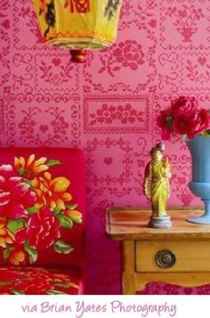 pink yellow red..color combo and inspiration from wall paper  :)