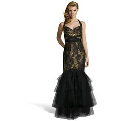 Marchesa Notte Black and gold embroidered lace mermaid evening gown ($447) ❤ liked on Polyvore featuring dresses, gowns, lace gown, lace fit and flare dress, fringe dress, long lace evening gowns and long dresses