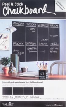 We think these 9x12 slate gray chalkboard panels are brilliant!  Use inside a kitchen cupboard, a kid's locker, on the fridge, or even right on the wall.  The panels are repositionable, removable, a