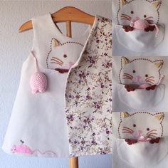 06-12months cat and mouse dress, babies clothing, made in  spain
