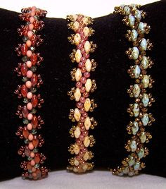 (pic) Lacy Super Duo Bracelet - the Bead Shoppe, Roseville Beading Patterns Free, Beaded Jewelry Patterns, Beading Tutorials, Bracelet Patterns, Bead Patterns, Beaded Braclets, Seed Bead Bracelets, Bead Jewellery, Seed Bead Jewelry