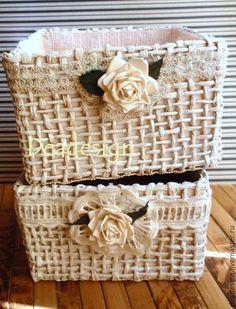 плетеные корзинки из бумажного шпагата - Ярмарка Мастеров - ручная работа, handmade