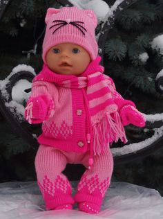 Baby born doll babyborn clothes clothes for BabyBorn baby Knitting Dolls Clothes, Knitted Dolls, Crochet Clothes, Doll Clothes, Doll Dress Patterns, Doll Sewing Patterns, Baby Patterns, Baby Knitting, Crochet Baby