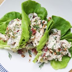 Chicken Salad Lettuce Wraps with Grapes and Pecans