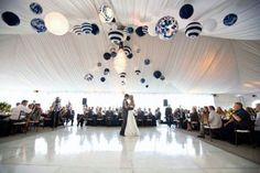 Here's a huge wedding tent with a dance floor in the middle.