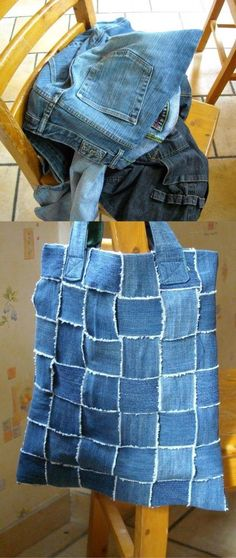 """No description available -- but it's made from old jeans. Cut strips, weave them together to form the bag. Secure them (maybe to a """"liner"""" ?) Add straps and a bottom."""