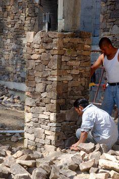 Gabion Wall Design, Stone Wall Design, Stone Texture Wall, House Columns, Landscape Stairs, Brick Cladding, Stone Pillars, Building Stone, Model House Plan