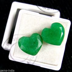 13+ Ct/2 Pcs ~ Matched Pair Exclusive Natural Colombian Emerald Heart Cut Gems ~