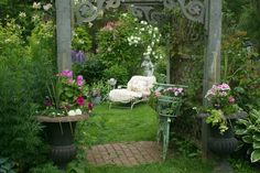 Vintage chaise in our summer garden