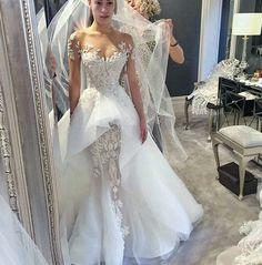 Mermaid and Illusion - Sheer Wedding Dress - Palto - Mariage Robe Fairy Wedding Dress, Sheer Wedding Dress, Stunning Wedding Dresses, Classic Wedding Dress, Dream Wedding Dresses, Beautiful Gowns, Bridal Dresses, Wedding Gowns, Mermaid Wedding