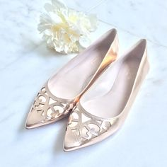 """HPNEW Kate Spade Flats NEW Kate Spade Flats, size 8.5, rose gold metallic color w/cutouts at pointed toe, never been worn-great condition                                                                                     Host Pick: [6.20.16] Summer Staples Party                                     ------------------✂️✂️✂️------------------ s h o e s heel↕️: 0.25"""" [top of heel]⬆️: 2.5"""" [coverage]front↘️: 3"""" s o l e s length↕️: 11"""" width↔️: 3.25"""" kate spade Shoes Flats & Loafers"""