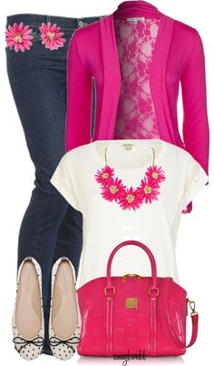 "Love the pink lace back jacket. ""White T and Jeans Contest 2"" by amybwebb on Polyvore"