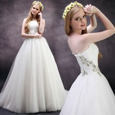 New arrival Strapless Net bridal gown with Natural waist