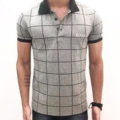 This is an example of a polo top. Mens Polo T Shirts, Tie Dye Shirts, T Shirt Yarn, Cut Shirts, Polo Shirt, Hugo Boss, Fashion Wear, Mens Fashion, Polo Outfit