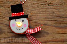 tea light snowman craft - Red Ted Art's Blog