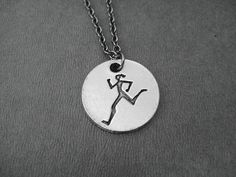 For the runner in your life!   RUNNER GIRL Round Pendant Necklace  Pewter Charm on by TheRunHome