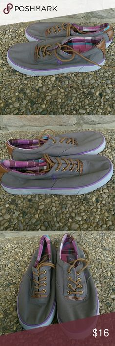 US Polo Assn Purple Grey Charlie Sneaker Size 7 Bit squashed from storage but no damage. A few light marks. Pictures show details. US Polo Assn Shoes Athletic Shoes