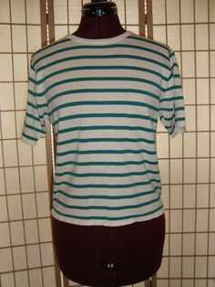 Worthington Sz M Green & White Wide Striped Cotton Blend Knit Top #Worthington #KnitTop