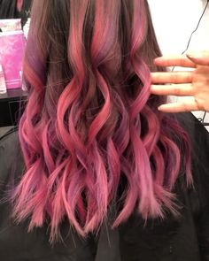 Ombre Hair Color For Brunettes, Pink Ombre Hair, Hot Pink Hair, Dyed Red Hair, Hair Color Pink, Hair Dye Colors, Ombre Colour, Brown To Pink Ombre, Pink Hair Streaks