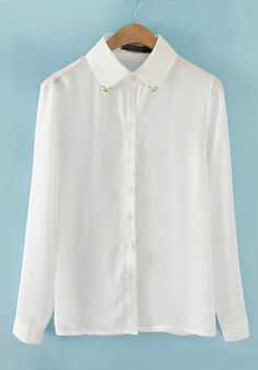 White Chiffon Doll collar Long Sleeve Button Fly Patchwork Tops