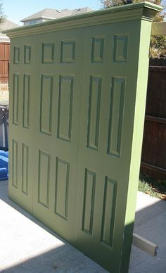King+size+3+door+headboard+-+olive+green+with+subtle+distressing.