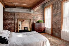 Exposed brick walls in a house near the Hudson River