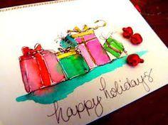 Znalezione obrazy dla zapytania christmas cards diy watercolour