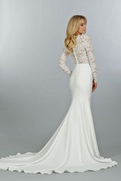 21 Ridiculously Stunning Long Sleeved Wedding Dresses: This lovely v-necked, long-sleeved creation hails from Tara Keely's Fall 2014 collection, designed by Lazaro Perez.
