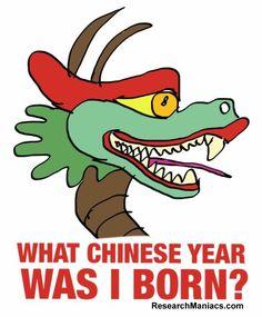 What Chinese Year was I born?  http://researchmaniacs.com/ChineseZodiac/WhatChineseYearWasIBorn.html