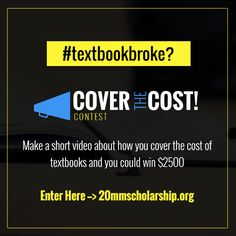 Tell us how you cover the cost of your textbooks. Make it funny and touching. Enter to win a $2,500 book scholarship (3 available). Deadline Oct. 28