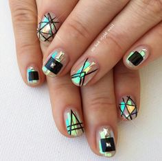 Mylar nail art, geometric nails
