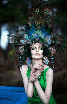 READY TO SHIP Peacock Fantasy Woodland fairy nymph goddess headdress headpiece gaga steampunk burlesque costume. I like the headdress. Steampunk Hut, Steampunk Makeup, Steampunk Halloween, Woodland Fairy, Fantasy, Our Lady, Fascinators, Headpieces, Headgear