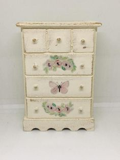 Dollhouse Miniature Artisan Aged Vintage Maps Chest of Drawers
