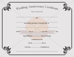 printable wedding anniversary certificate template marriagecertificatetemplatecom