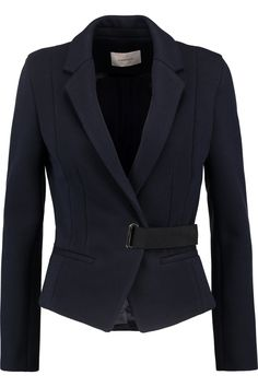 Carven Belted knitted jacket midnight blue