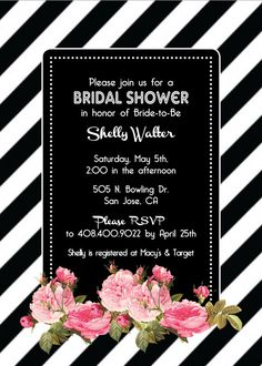 Black & White Diagonal Striped Invitations -  Bridal Shower - Bachelorette Party - Baby Shower - Birthday Party - Classic - Pink Vintage Roses - Peonies - Invitation Sets