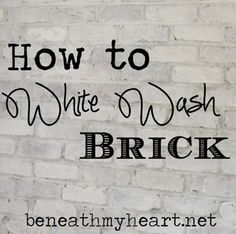 How to White Wash Brick Bathroom Update - My-House-My-Home Do It Yourself Furniture, Do It Yourself Home, Cool Diy Projects, Home Projects, Brick Bathroom, Master Bathroom, Bathroom Ideas, Kitchen Brick, Kitchen White